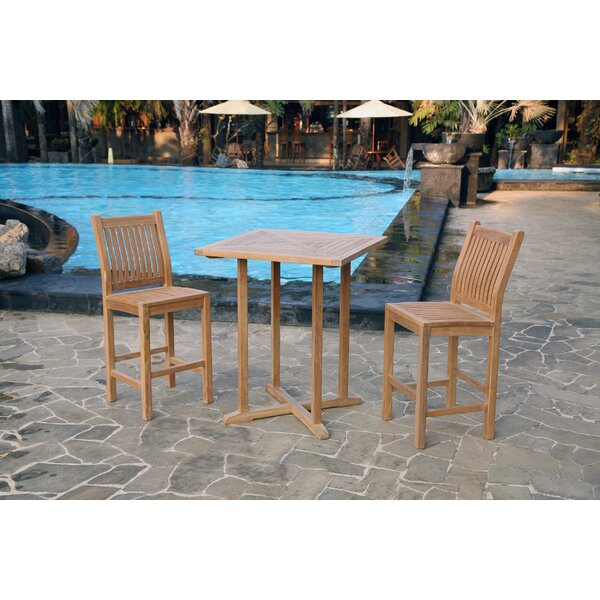 Belleair 3 Piece Teak Bar Height Dining Set by Breakwater Bay