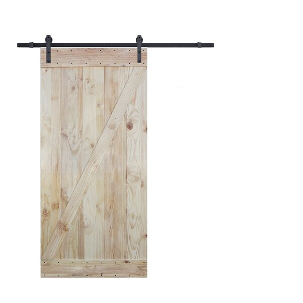 Two Side Z-Bar Solid Wood Paneled Knotty Pine Slab Interior Barn Door by Calhome