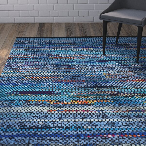 Shatzer Hand-Woven Cotton Turquoise Area Rug by Wrought Studio