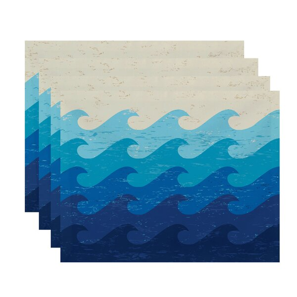 Amiyah Deep Sea Geometric Placemat (Set of 4) by Longshore Tides