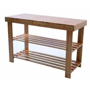 Natural Bamboo 2-Tier Shoe Storage Bench by Rebrilliant