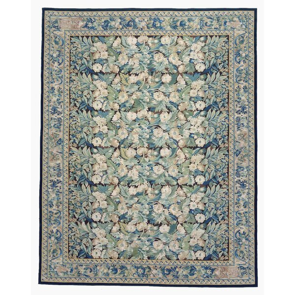 One-of-a-Kind Aubusson Hand-Woven Wool Green/Blue Area Rug by Pasargad