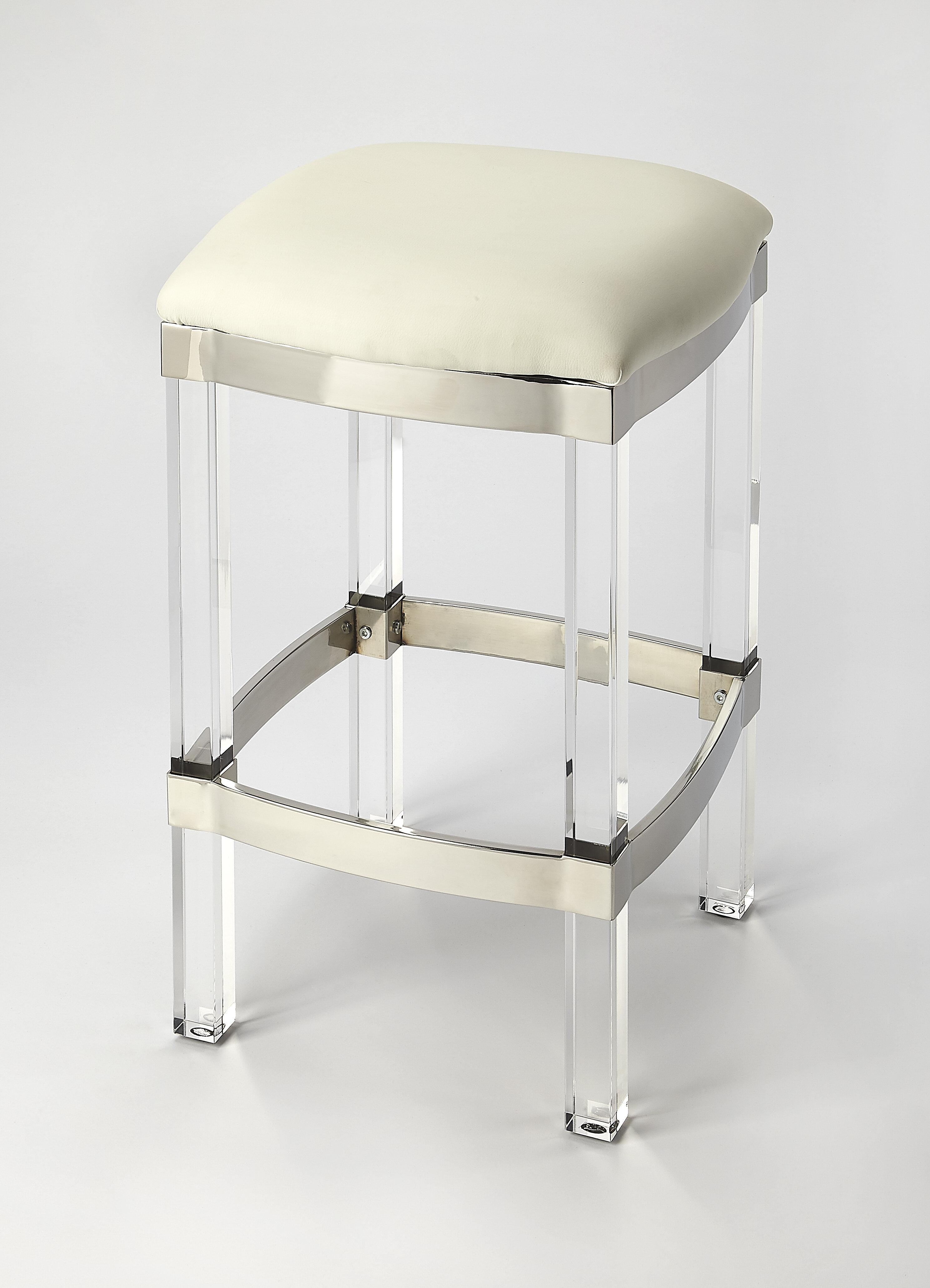 Pleasant Everly Quinn Kye Acrylic And Leather Counter 24 Bar Stool Inzonedesignstudio Interior Chair Design Inzonedesignstudiocom