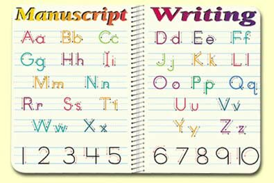 Manuscript Writing Placemat (Set of 4) by Painless Learning Placemats