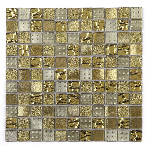 Grid Glass Mosaic Tile in Gold by Multile