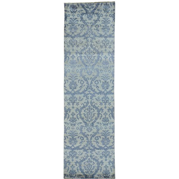 Damask Tone on Tone Oriental Hand-Knotted Silk Blue Area Rug by Rosdorf Park