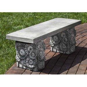 Lovely Sunflower Cast Stone Garden Bench