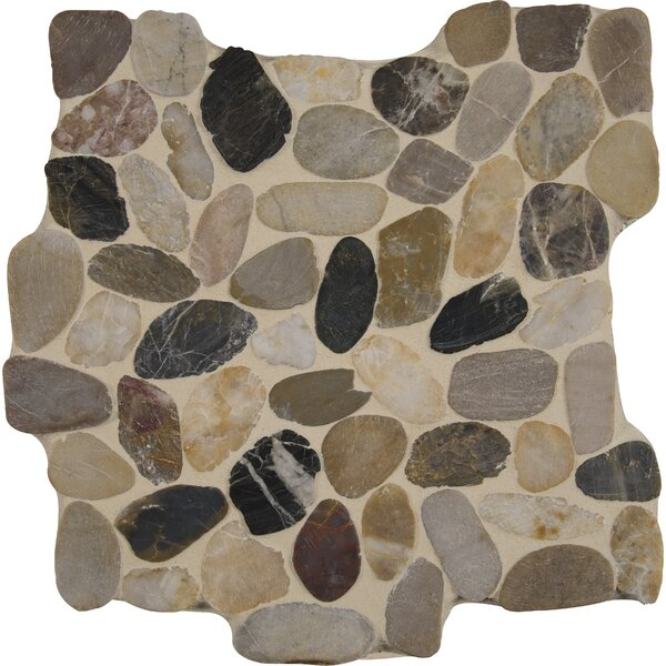 Mix River 12 x 12 Quartz Pebble Mosaic Tile in Gray/Beige by MSI