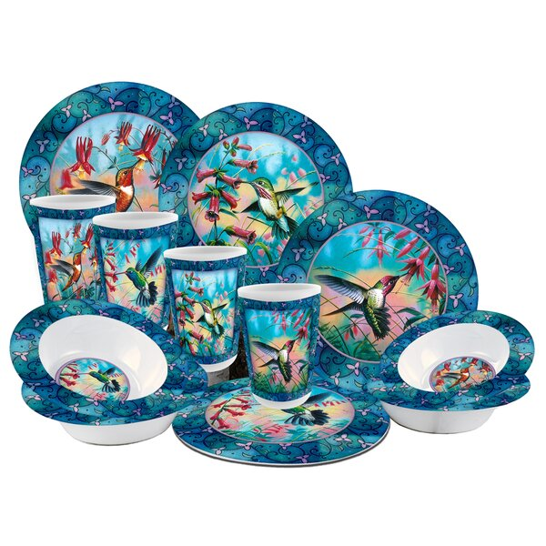 Hummingbird Melamine 12 Piece Dinnerware Set, Service for 4 by MotorHead Products