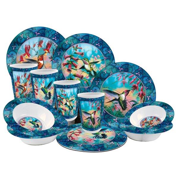 Hummingbird Melamine 12 Piece Dinnerware Set, Service for 4 by MotorHead Products