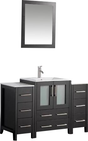 Karson Framed 48 Single Bathroom Vanity Set with Mirror by Wade Logan