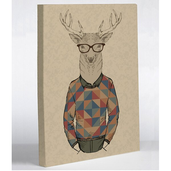 Hipster Deer Sweater Graphic Art on Wrapped Canvas by One Bella Casa