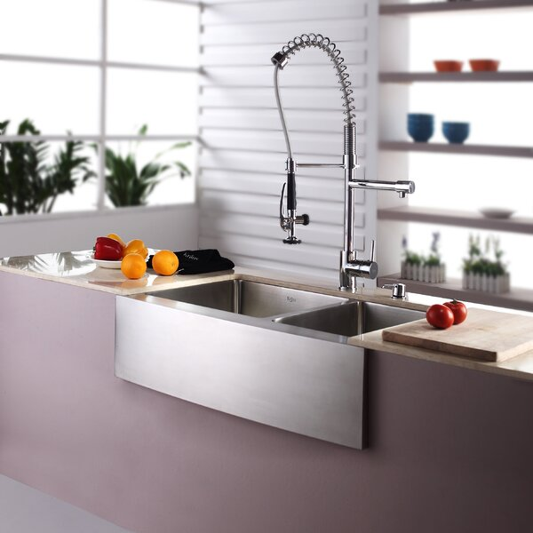 32.88 L x 20.75 W Double Basin Farmhouse Kitchen Sink with Faucet and Soap Dispenser by Kraus