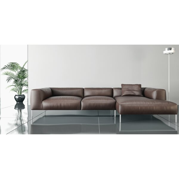 Zulema Right Hand Facing Leather Sectional By Orren Ellis