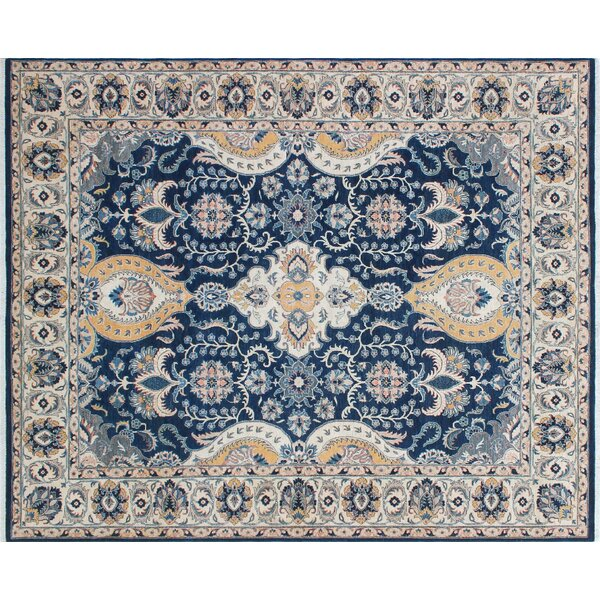 Rosewood Hand-Knotted Rectangle Blue Area Rug by Canora Grey