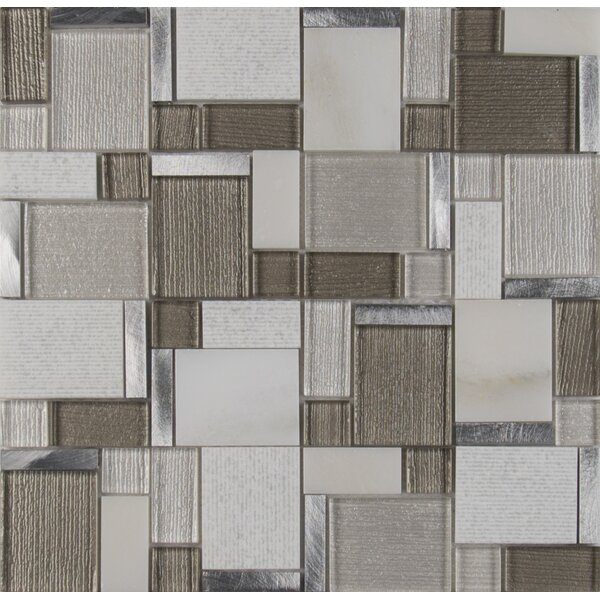 Magica Random Sized Glass/Stone Mosaic Tile in Gray/Brown by MSI