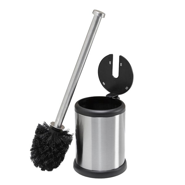 Self Closing Lid Stainless Steel Free Standing Toilet Brush and Holder by Bath BlissSelf Closing Lid Stainless Steel Free Standing Toilet Brush and Holder by Bath Bliss