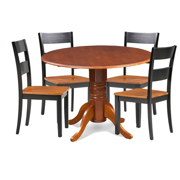 Cordell 5 Piece Drop Leaf Breakfast Nook Solid Wood Dining Set by Charlton Home