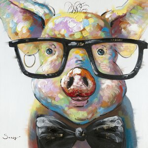 'Smart Pig' Painting Print on Canvas by Latitude Run
