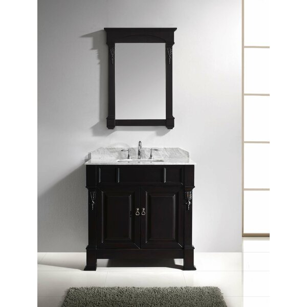 Maison 36 Single Bathroom Vanity Set with White Marble Top and Mirror by Darby Home Co