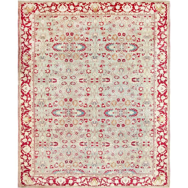 One-of-a-Kind Agra Hand-Knotted Before 1900 Agra Red 13' x 16'6 Wool Area Rug
