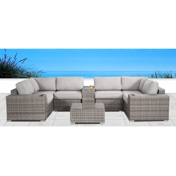 Yeomans Cup Table 10 Piece Rattan Sectional Seating Group with Cushions by Rosecliff Heights