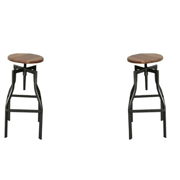 Abigayle Swivel Solid Wood Adjustable Height Bar Stool (Set Of 2) By Foundry Select