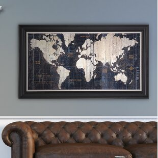 Framed wall art birch lane old world map blue framed graphic art on wrapped canvas gumiabroncs Images