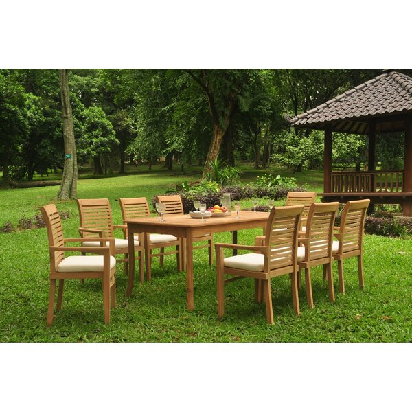 Spoffo 9 Piece Teak Dining Set by Rosecliff Heights