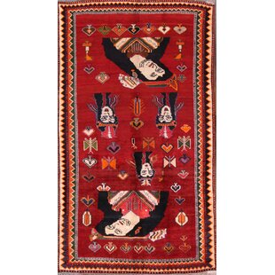 Affordable Price One-of-a-Kind Oakdale Ghashghaei Traditional Shiraz Persian Hand-Knotted 5'3 x 9'3 Wool Black/Burgundy/Beige Area Rug By Isabelline