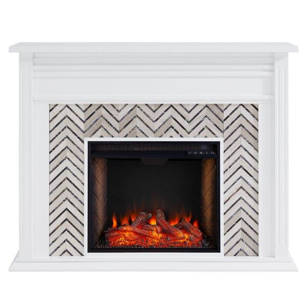 Hebbington Tiled Electric Fireplace By Latitude Run