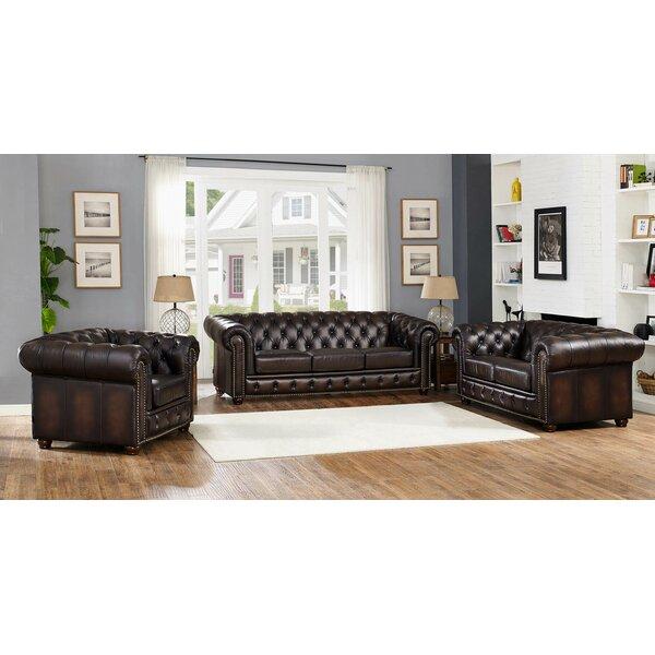 Katharine Leather 3 Piece Living Room Set by Fleur De Lis Living
