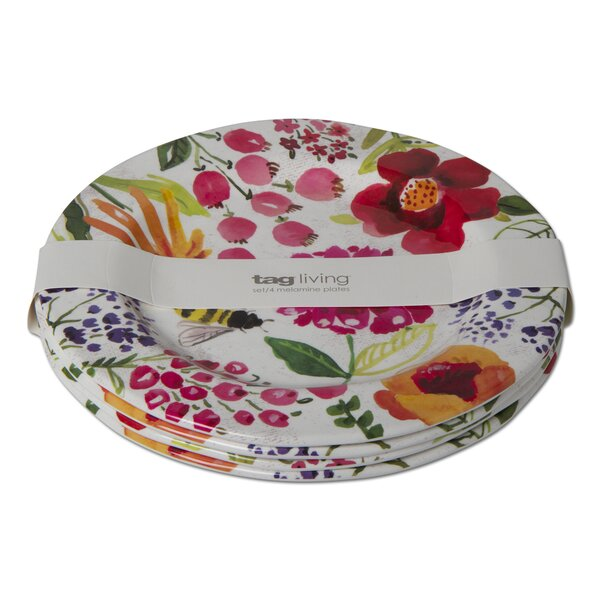 Fresh Flowers 4 Piece Melamine Dinner Plate Set by TAG