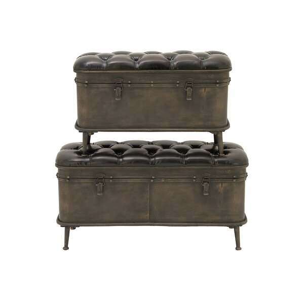 2 Piece Metal Leather Trunk Set by Cole & Grey