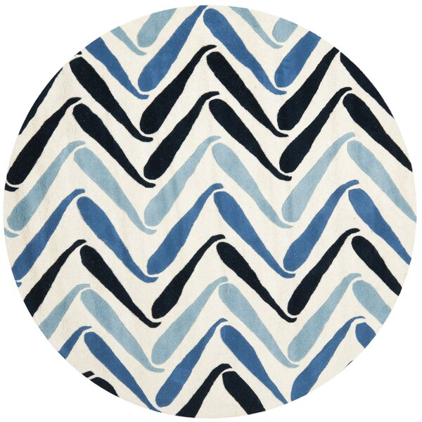 Chidi Ivory / Blue Rug by Ebern Designs