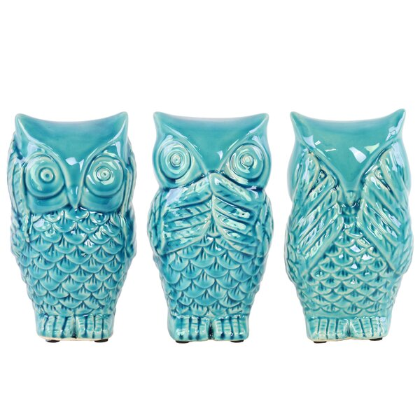 3 Piece Ceramic Owl No Evil Figurine Set by Urban Trends