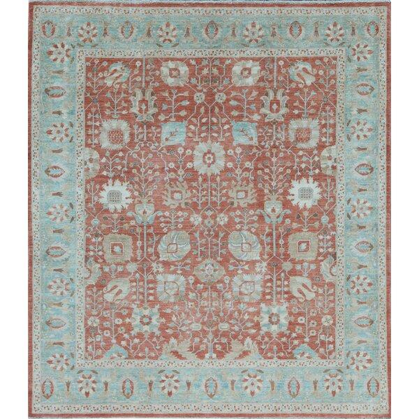 Aryana Oriental Hand-Knotted Wool Rust/Light Blue Area Rug