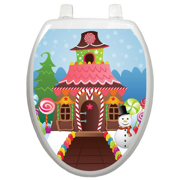 Holiday Christmas Candy House Toilet Seat Decal by Toilet Tattoos