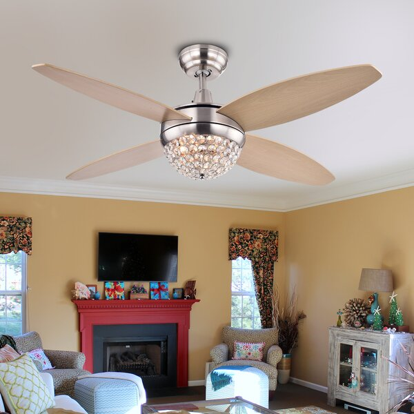 Balavis Wood Nickel Crystal 4 Blade Ceiling Fan with Remote by Warehouse of Tiffany