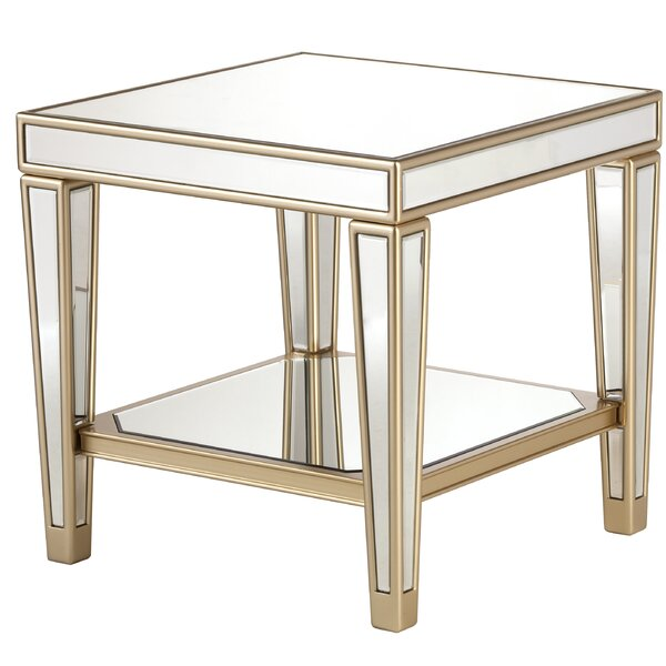 Paulornette Mirrored End Table with Tray by House of Hampton