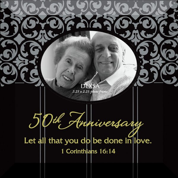 Simple Expressions 50th Anniversary Beveled Glass Picture Frame by Dexsa