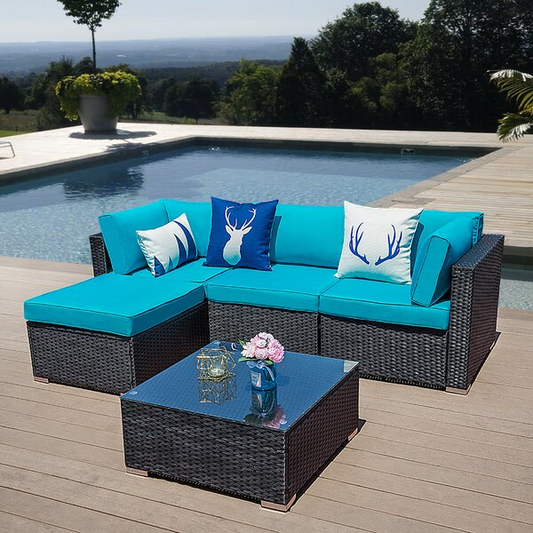 Solmaz Outdoor 5 Piece Rattan Sectional Seating Group with Cushions by Latitude Run