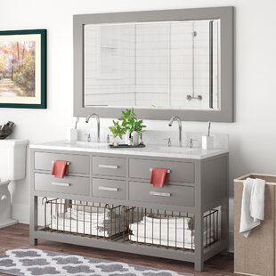 Best Reviews Berghoff 60 Double Bathroom Vanity Set with Mirror By Andover Mills