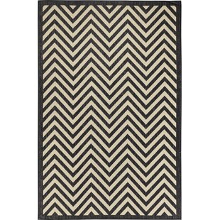 Hughes Black/Beige Indoor/Outdoor Area Rug By Brayden Studio