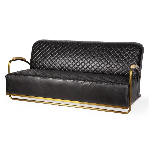Nya Leather Sofa by 17 Stories