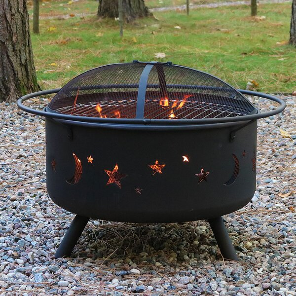 Steel Wood Fire Pit with Cooking Grill by Wildon H
