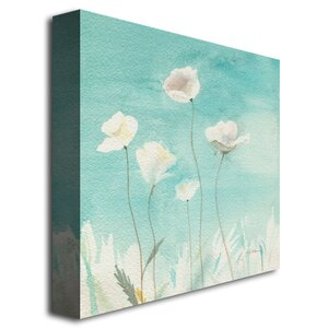 White Poppies Painting Print on Canvas by August Grove
