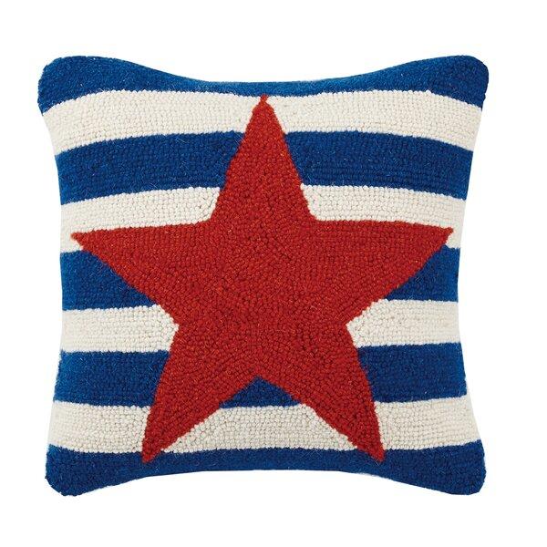 Star Stripe Hook Wool Throw Pillow by Peking Handicraft