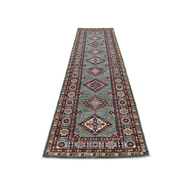 One-of-a-Kind Espada Super Geometric Hand-Knotted Green Area Rug by Millwood Pines