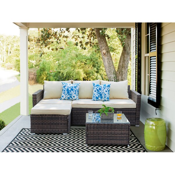 Pfarr 3 Piece Rattan Sectional Seating Group Set with Cushions by Wrought Studio